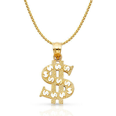 14K Yellow Gold Dollar Sign Charm Pendant & 1.7mm Flat Open Wheat Chain Necklace