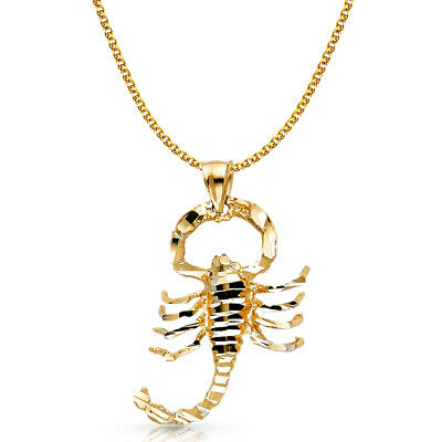 14K Yellow Gold Scorpion Charm Pendant with 2mm Flat Open Wheat Chain Necklace