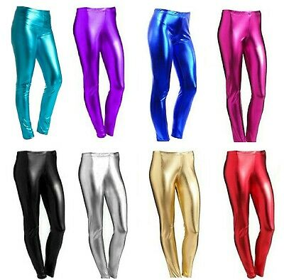 New Girls Children Metallic Leggings  Shiny  Wet Look Kids Costume