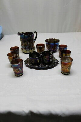 Northwood Grape & Cable Amethyst Carnival Glass 12 PC Water Set Pitcher Tumbler