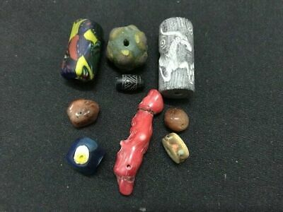 Rare ancient Phoenician glass bead group Agate Roman Carnelian Engrave Wood #k4