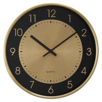 Elko Wall Clock With Gold Finish Frame Metallic Vintage Elegance To Interiors
