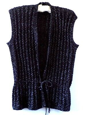 Black Lurex Vintage Ribbed Knitted Drawstring Waistcoat Size S/M