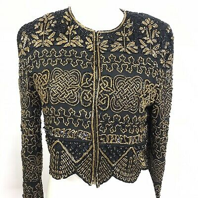 VTG Adrianna Papell  Evening Sequin Beaded Embellished Jacket Med Cruise Small