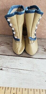Vintage antique doll boot shoe leather heeled german french lady ecru and blue