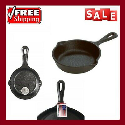 3.5 Cast Iron Skillet Small Fry Pan Grill Kitchen Egg Cookware Glass Stove BLACK