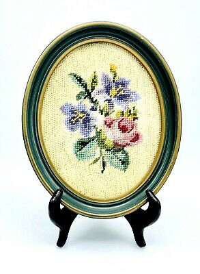 Vintage Needlepoint Oval Wood Frame Teal & Antique Gold Flowers Wall Art