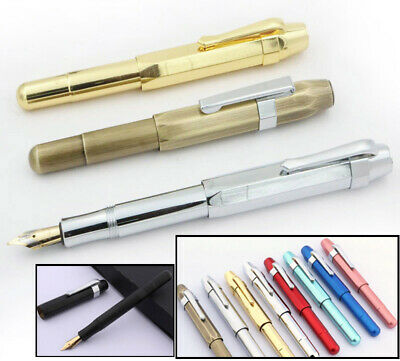 Iraurita Heavy Brass Fountain Pen, Medium Nib, Choose from 4 Metallic Finishes
