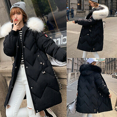 NEW Women Ladies Quilted Winter Coat Puffer Fur Collar Hooded Jacket Parka Coats