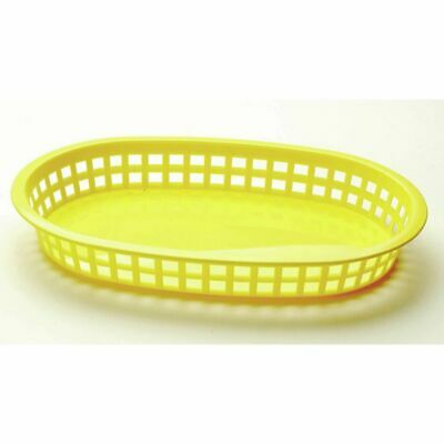 "Tablecraft Classic Oval Chicago Platter Yellow Plastic Serving Basket - 10 1/2""L"