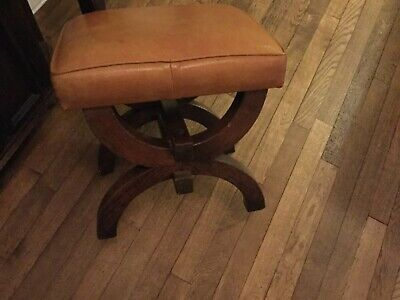 Rare Antique Gothic Revival ? Oak base  Stool Vintage