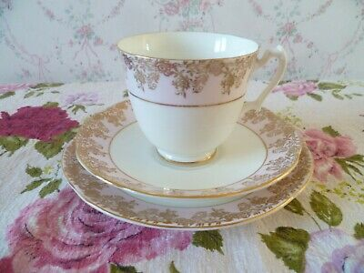 Vintage Adderley English China Trio Tea Cup Saucer Plate Pink Gilded