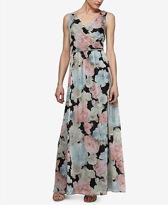 SL Fashions Beaded-Waist Floral Chiffon Gown $119 Size 6 # 4NA 97 NEW