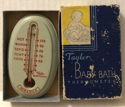 Vintage Taylor Baby Bath Thermometer Blue Wooden Faux Soap Painted Duck P