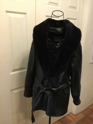 WOMEN'S ALAMO UOMO BLACK GENUINE LEATHER / Faux Fur Lined Coat Small Belted