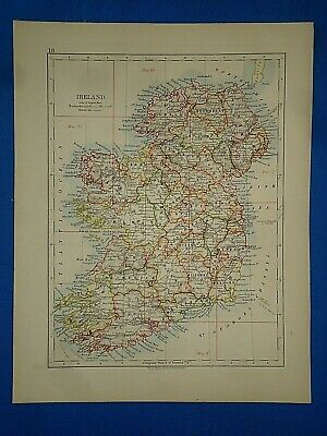 Vintage Circa 1905 IRELAND MAP Old Antique Original & Authentic - Free S&H
