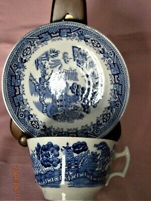 Vintage Woods Ware Blue and White Willow Breakfast Tea Cup and Saucer  VGC