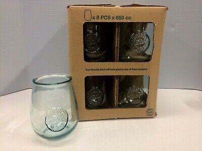 San Miguel 8 Clear Stemless Goblets Tumblers 100% Authentic Recycled Glass 22 oz