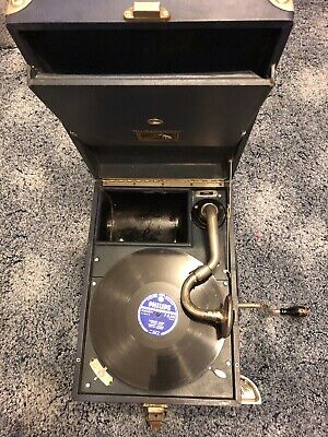 HMV LB101G Portable Wind - Up Gramophone Turntable 78 Vinyl With Spare Needles