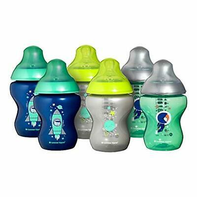 Tommee Tippee Closer to Nature Decorated Bottles, 260 ml, Blue, 6-Piece
