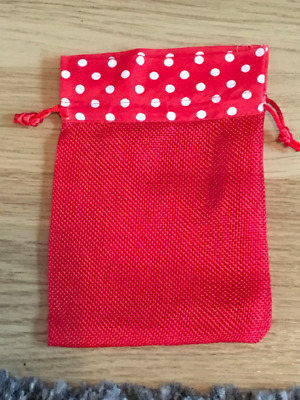 24 red fabric , jute with polka dots gift bags favour bags