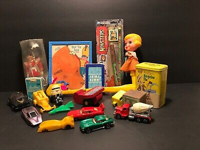 Junk Drawer Lot Vintage Antique Toys Doll Looked Tunes Hot Wheels Playing Cards