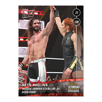 2019 Topps NOW WWE #34 Seth Rollins w/ Becky Lynch ~ Stomping Grounds
