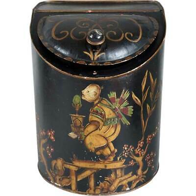 Antique American Painted Toleware General Store Chinese Tea Canister Tin