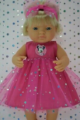 Dolls Clothes For 38cm Miniland Doll HOT PINK SEQUIN DRESS~HEADBAND