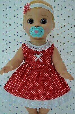 "Play n Wear Dolls Clothes For 17"" Luvabella Doll RED POLKA DOT DRESS~HEADBAND"