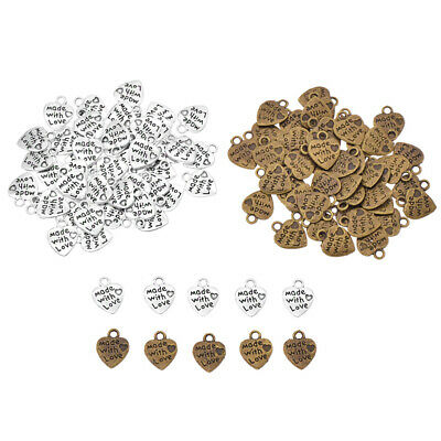 50pcs Made with Love Heart Shape Metal Labels DIY Sewing Tag Pendant Accessories