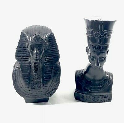 Egyptian Pharaoh King Tut And Queen Nefertiti Bust Statue Set Of 2 Resin & Stone
