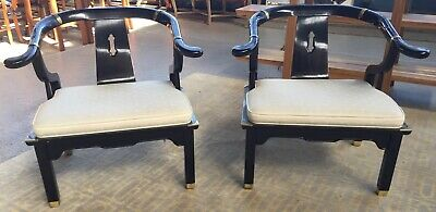 Pair of Black Lacquer Chinese Horseshoe Chairs