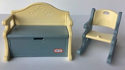 Surprising Vintage Little Tikes Dollhouse Blue Toy Box Bench And Dailytribune Chair Design For Home Dailytribuneorg