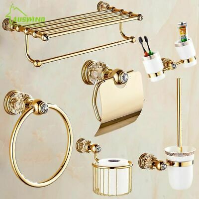 Bathroom Shelves Rack Holder Gold Antique Crystal Brass Wall Mounted Accessories