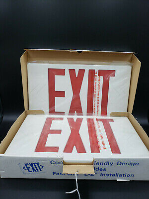 Red LED Exit Sign & Incandescent Emergency Light-120/277VAC