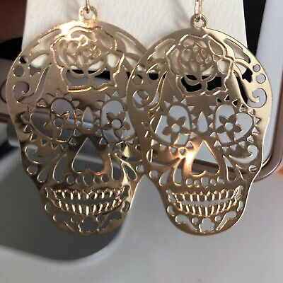 Sugar Skull Skeleton, Halloween, Day Of The Dead Earrings gold Must See!