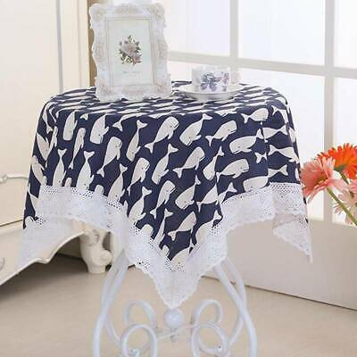 European Style Linen Floral Print Tablecloth Square Table Cover Home Decor G