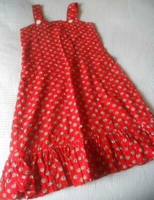 Fab Vintage 60'S Small Daisy Print Red Seersucker Cotton Sun Dress Teen Xs