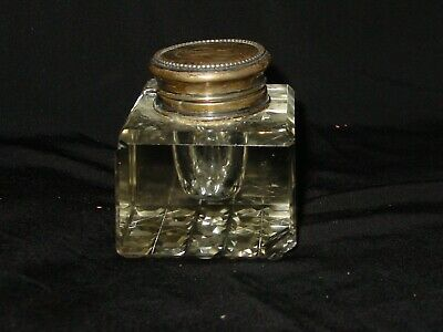 Antique Sterling Silver Cut Glass Inkwell Marked 237 (Chipped)