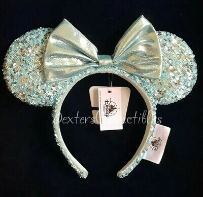 Disney Parks Frozen Arendelle Aqua Minnie Mouse Ears Sequin Headband NWT IN HAND