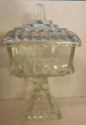 Vintage Depression Glass Footed/Pedestal Square Compote Bowl/Candy Dish
