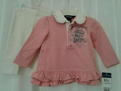 New Ralph Lauren Baby Girls Peachy Pink Two Piece Outfit Pants Set Size 9M