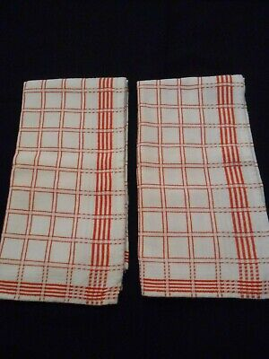 2 Red & White plaid kitchen hand towels MADE IN HOLLAND NWOT