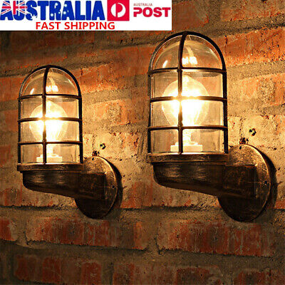 Vintage Metal Wall Light Sconce Black Cage Glass Industrial Warehouse Barn  C
