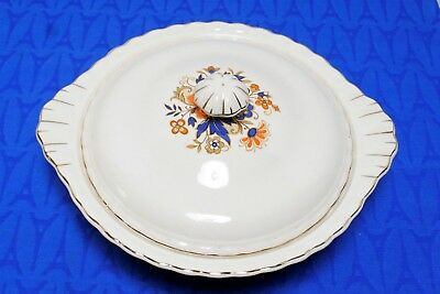 J&G Meakin SOL Covered Casserole Dish Orange flower blue leaves scalloped MINT!