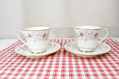 Noritake LONGWOOD 2485 Lot of TWO SETS Footed Cups and Saucers  MINT!