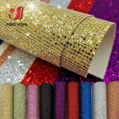 ​Plaid Sequin Glitter Iridescent Faux Leather Fabric Material For Craft Bag DIY