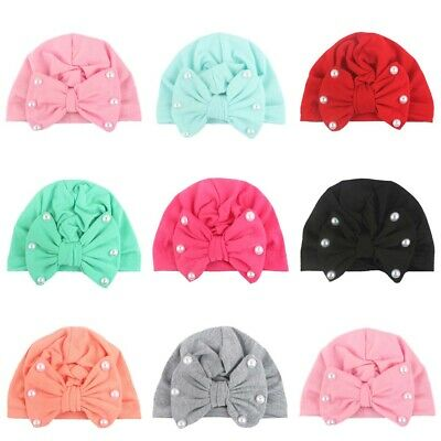 Pearl Bow Knot Cute Baby Newborn Toddler Girls Cap Beanie Hats Turban Head Wrap