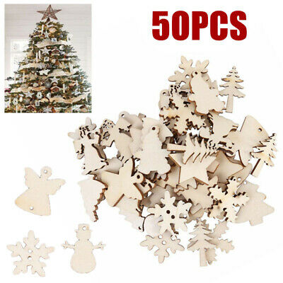50pcs Wooden Christmas Baubles Christmas Tree Decoration Hanging Tag Shape